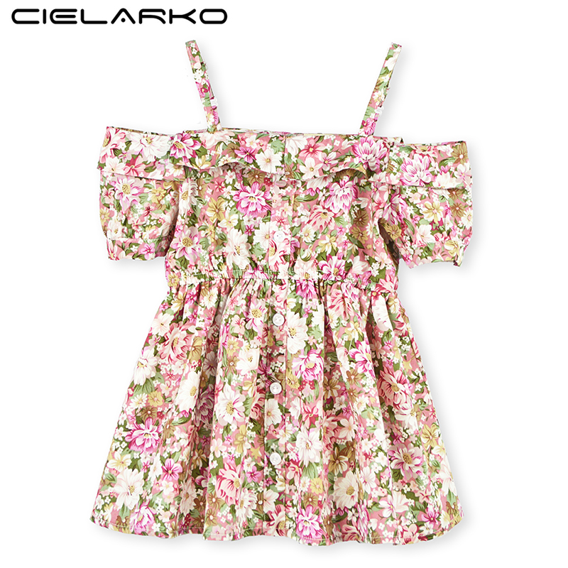 feaf4d39af5 Cielarko Baby Girls Dress Summer Kids Flower Dresses Strapless Children  Beach Party Clothing Girl Evening Dress for 2-10 Years