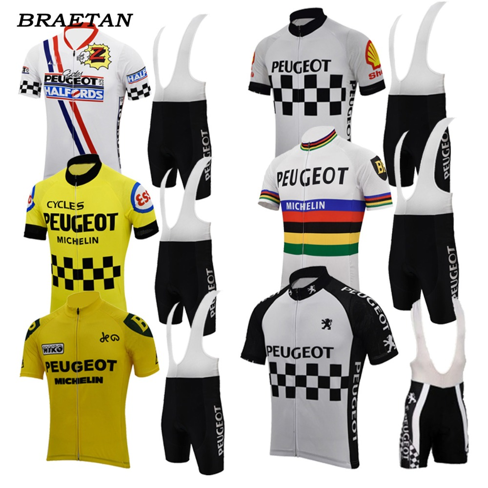 Peugeot Cycling Jersey Set Men Short-sleeve Polyester Jersey&lycra Short 3d Gel Pad Ropa De Ciclismo Maillot Road Bike Clothing