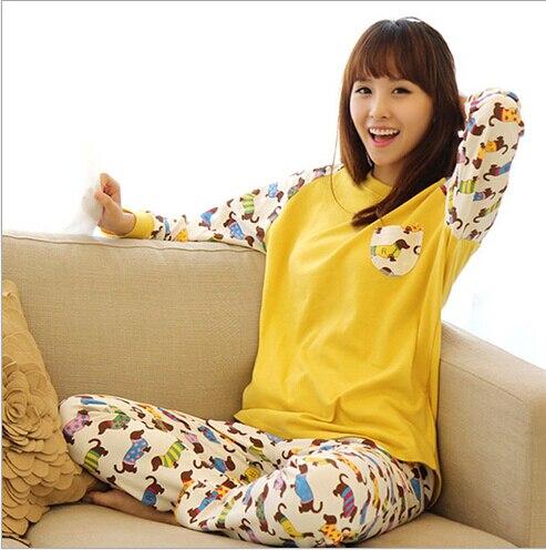 New Autumn Women cartoon Cotton Pajamas Sets Female Sleepwear Leisure Home  Clothes long sleeve sleep shirt women 022 d8582ded88c9