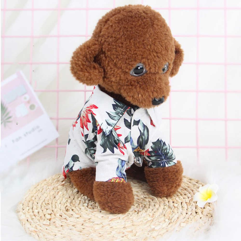 Одежда для домашних животных футболка с цветочным рисунком Гавайская для маленькой большой собаки чихуахуа фрех полный собака кошка рубашки летняя пляжная одежда жилет