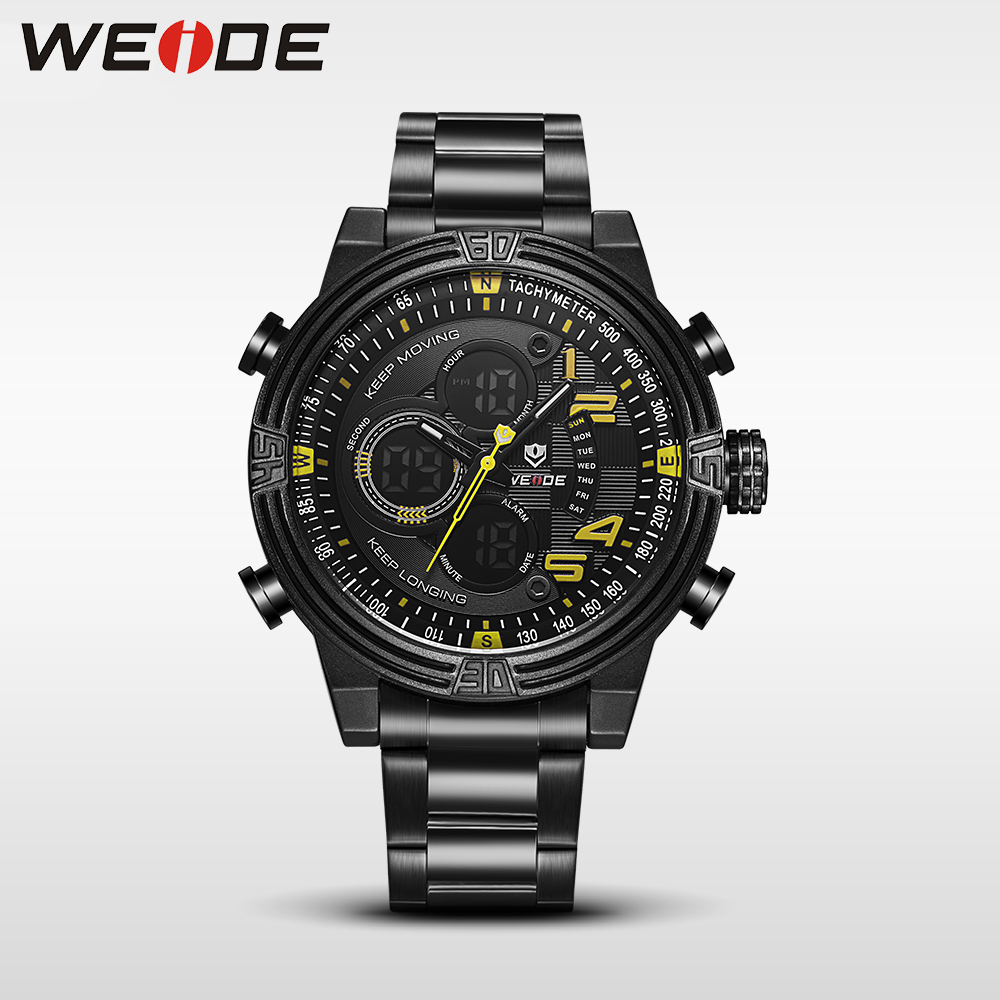 WEIDE New Men Quartz Casual Watch Army Military Sports Watch Waterproof Back Light Men Watches alarm Clock Multiple Time Zone weide casual genuin brand watch men sport back light quartz digital alarm silicone waterproof wristwatch multiple time zone