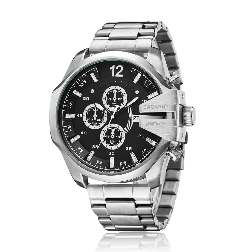 top luxury brand cagarny quartz watch for men gold steel band waterproof dz military Relogio Masculino mens watches drop shipping clock man big case (4)