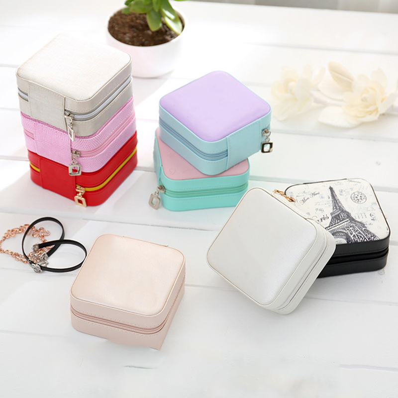 Creative Fresh And Simple Jewelry Storage Box Leather Makeup Organizer Portable Stud Earrings Ring Modern Finishing Container in Storage Boxes Bins from Home Garden