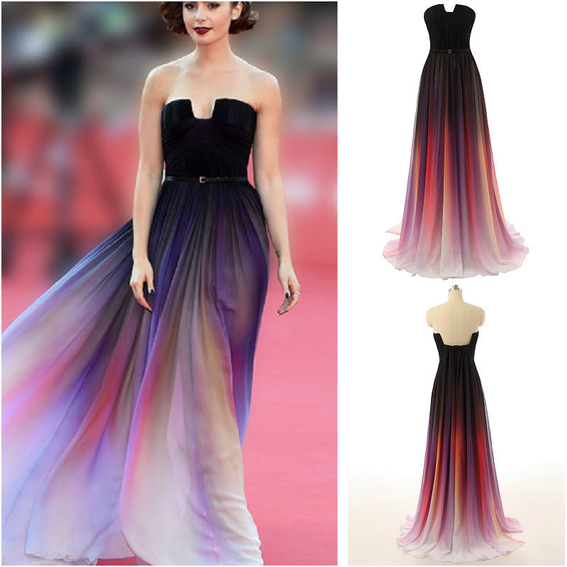 L272 Real sample Vestidos Elie Saab Gradient Ombre Prom Dress ...