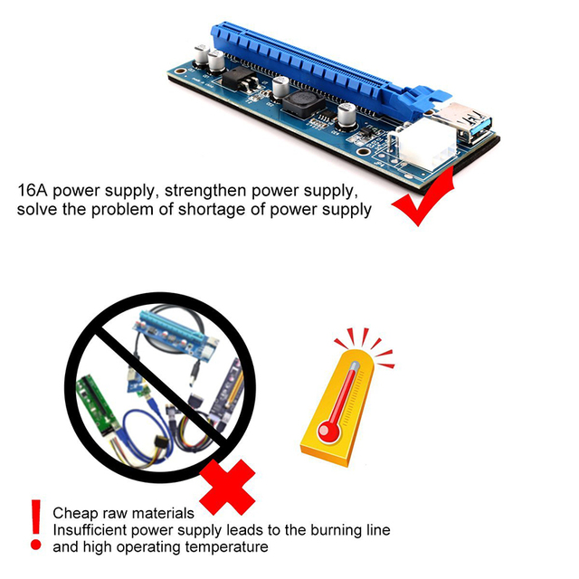 IN-STOCK Ubit 1x to 16x Express Extender Riser Card USB 3.0 PCIe Extension SATA 15pin to 6pin Power Cable for BTC bitcoin Mining