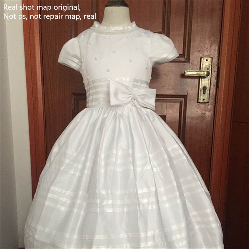 New Arrival Flower Girl Dress 2019 First Communion Dresses For Girls Short Sleeve Belt With Flowers Customized