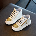 2017 Children Girls/Boys Shoes Fashion Rivets Casual Shoes Kids Baby Zip Sneaker Spring/Autumn Leather Shoes Sequins