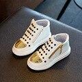 2017 crianças meninas/meninos shoes rebites moda casual shoes crianças bebê sneaker zip primavera/outono de couro shoes lantejoulas