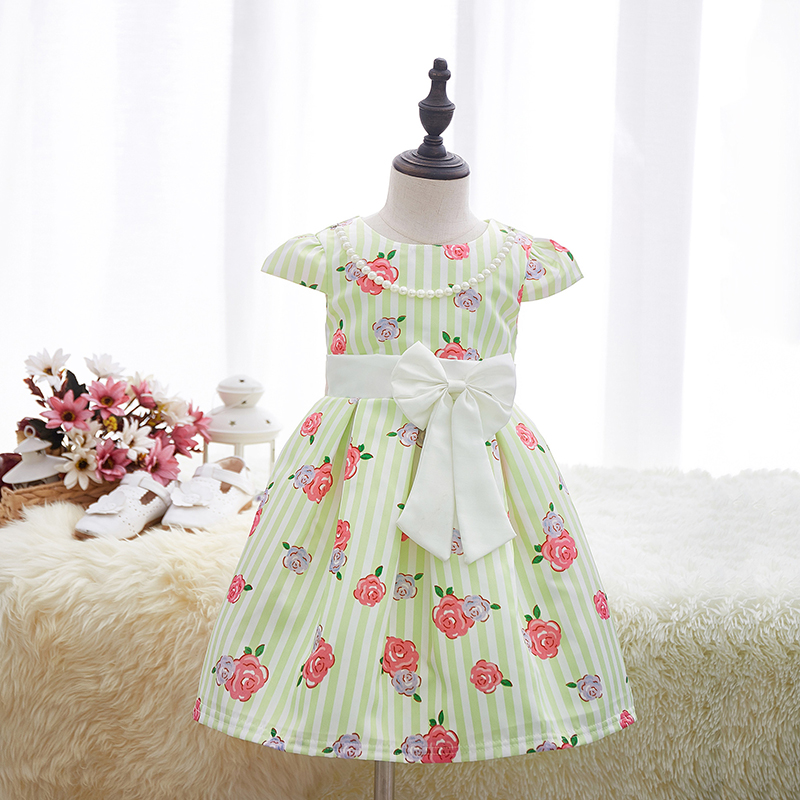 apricot beibei 2017 New Sleeveless Knee Dress Print Bow Tie Dress Elegant Child Clothing Europe and The United States Wind girls europe and the united states children s wear red princess dress child dress kids clothing bow flowers red purple