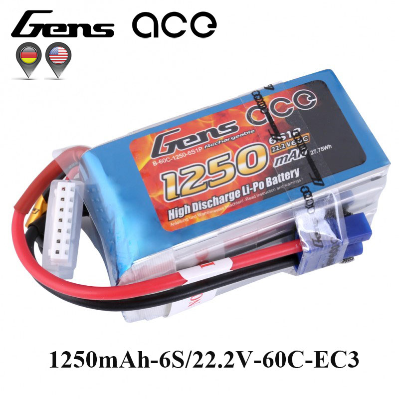 Gens ace Lipo Battery 22.2V 1250mAh Lipo 6S Battery Pack 60C EC3 Plug Batteries for RC Helicopter Quadcopter FPV Frame отвертка квт 67378