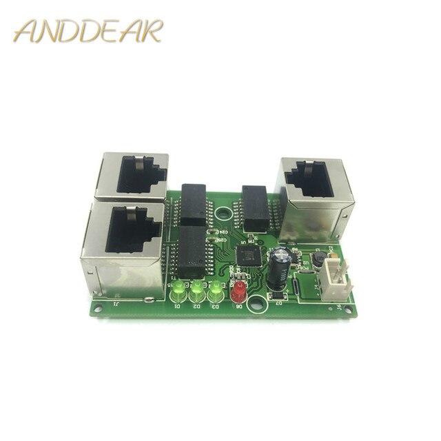 工業用グレードワイド温度低消費電力ネットワークケーブルミニミニイーサネット 3 ポート 10/100 Mbps 垂直 180 degreeswitchmodule
