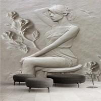 Custom Any Size Photo Wallpaper Paper Modern 3D Stereoscopic Art Relief Mask Beauty Mural Home Decor