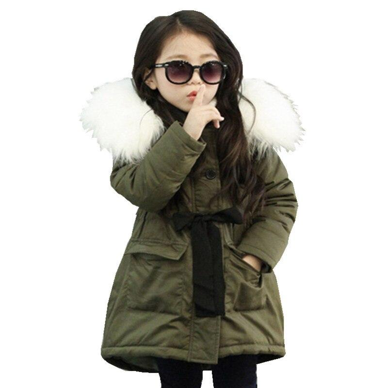 100% Kwaliteit Koreaanse Meisjes Jassen Kids Faux Bontkraag Jas Kinderen Winter Uitloper 3-11 T Kinderen Katoen Parka Verdikte Warm Jas