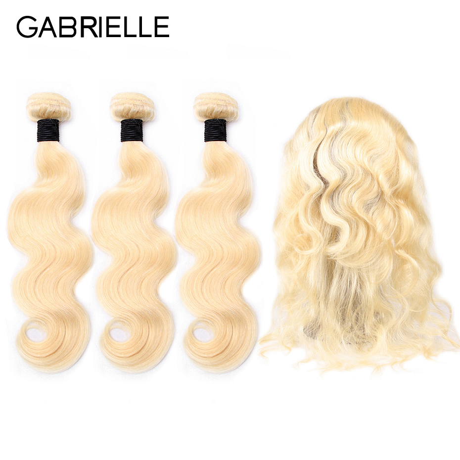 Gabrielle Hair Bundles with 360 Frontal Closure Brazilian Body Wave Blonde 613 Color 100% non-remy Human Hair Extensions