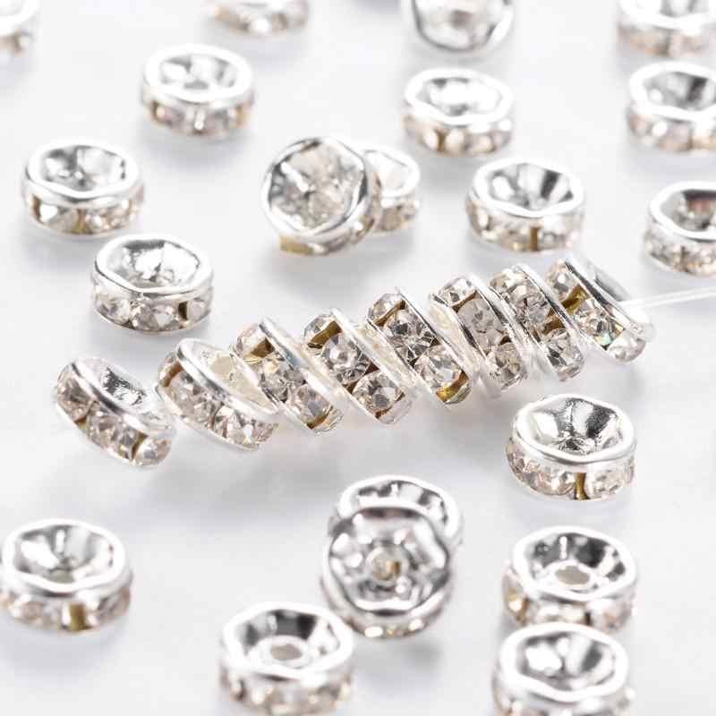 500pcs Kuningan Kristal Berlian Imitasi Pengatur Jarak Manik-manik 6/7/8mm Grade A Rondelle Perhiasan Bakat Temuan Silver warna