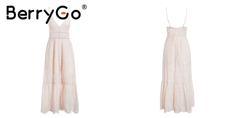 BerryGo White pearls sexy women summer dress 19 Hollow out embroidery maxi cotton dresses Evening party long ladies vestidos 16