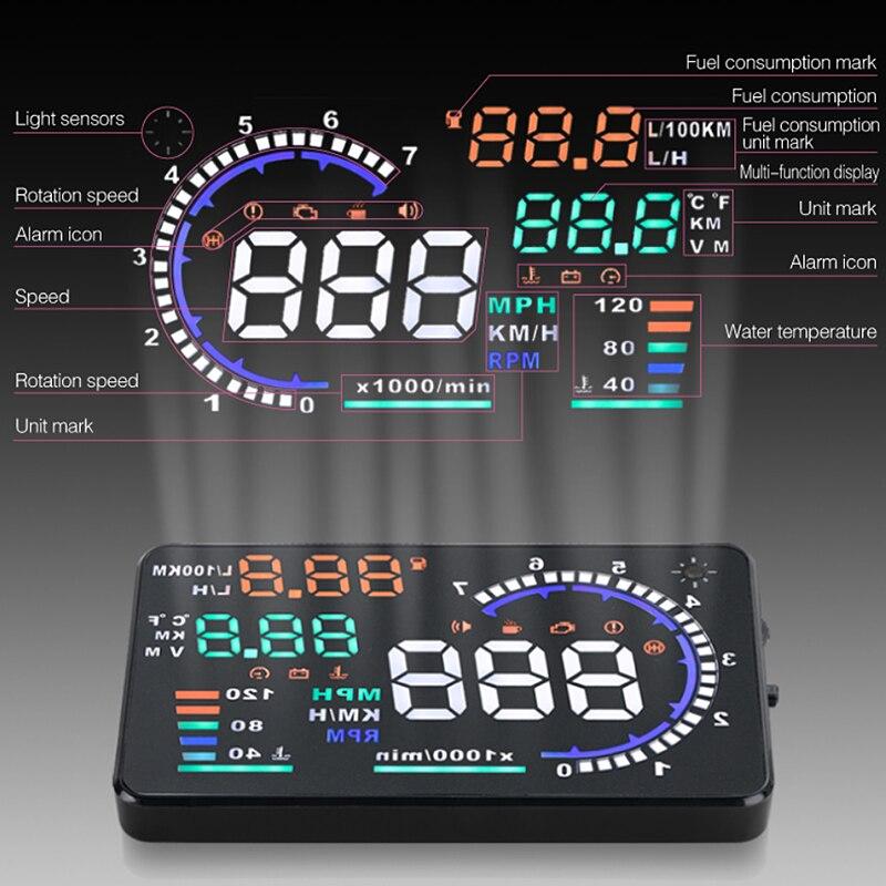 Voiture vitesse projecteur sur Pare-Brise OBD2 compteur de vitesse digital pour voiture Auto HUD Head Up Display alerte dépassement de vitesse autorisée Conduite Sécuritaire Accessoires
