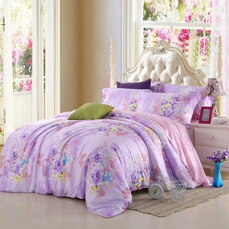 Light Purple Lilac Bedding Set Floral Queen King Size Quilt Doona Duvet  Cover Sheets Bed In A Bag Bedspreads Linen Silk Mauve In Bedding Sets From  Home ...