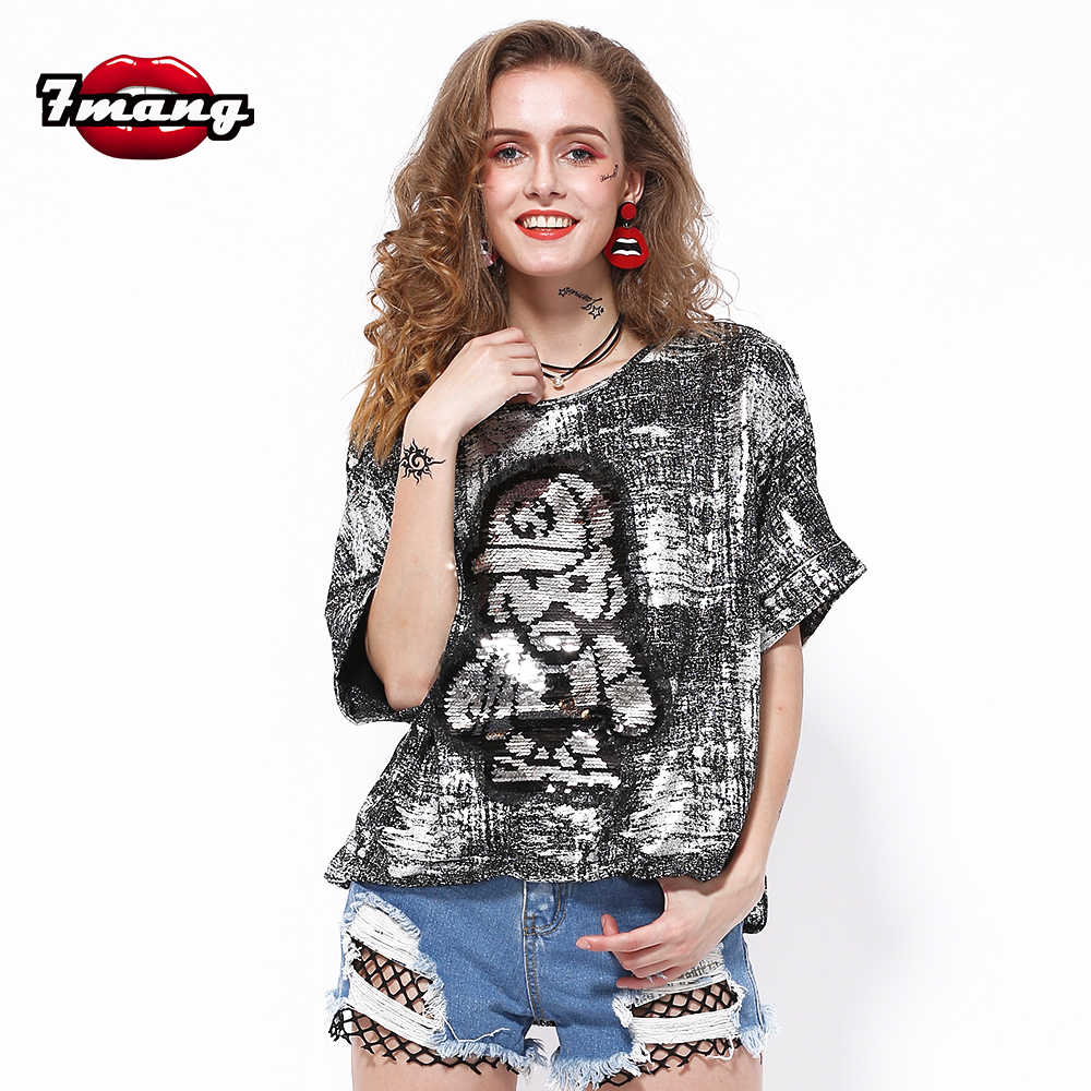 7mang 2018 summer women fashion long street sexy cartoon sequins t shirt  party short sleeve silver f95cd2a3b4d1