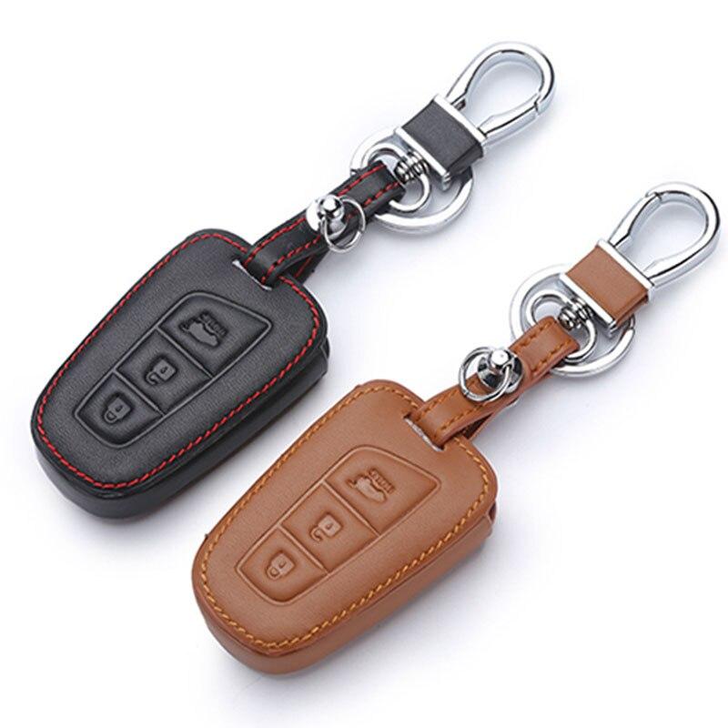 For Hyundai Santa Fe 2013 Car Styling Auto Key Cover Genuine Leather Remote Key Case For Hyundai Grand Santa Fe 2015 Accessories
