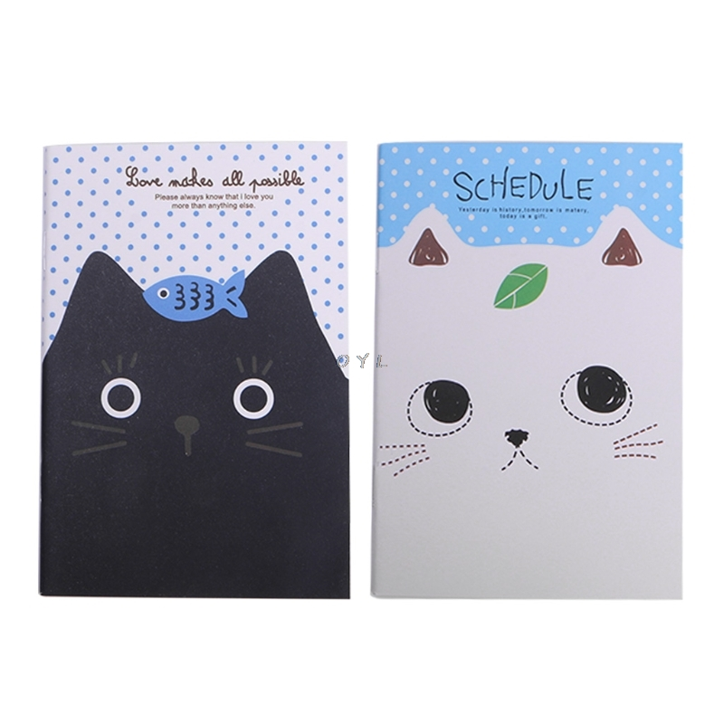 Cartoon Cat Notebook Sweet Hard Cover Paperback Book Diary Notepad Sketchbook