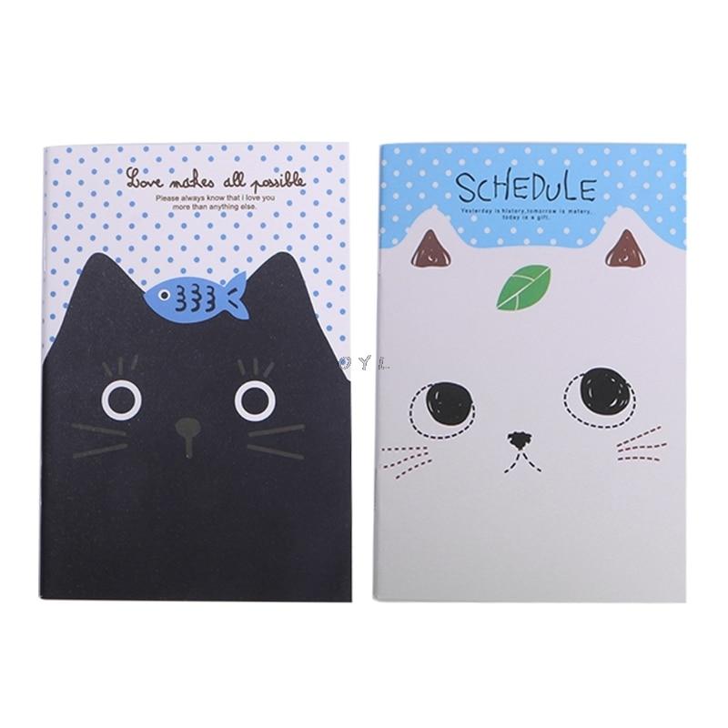 Cartoon Cat Notebook Sweet Hard Cover Paperback Book Diary Notepad Sketchbook