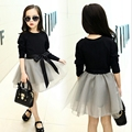 Spring Autumn 2-8 Years Kids Girls Clothing Dresses Cute Fashion Solid Cotton Long Sleeve Shirt & Lace Dress Outfit Girl Dress
