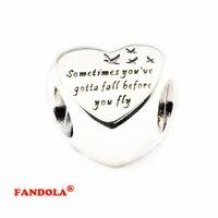 Adapte Pandora Bracelets Coeur de La Liberté Argent Perles Authentique 925 En Argent Sterling Charmes DIY Bijoux En Gros FL427
