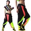 Crianças adulto marca primavera verão sweatpants costumes desgaste fino colorido patchwork panelled calças harem hip hop calças de dança jazz