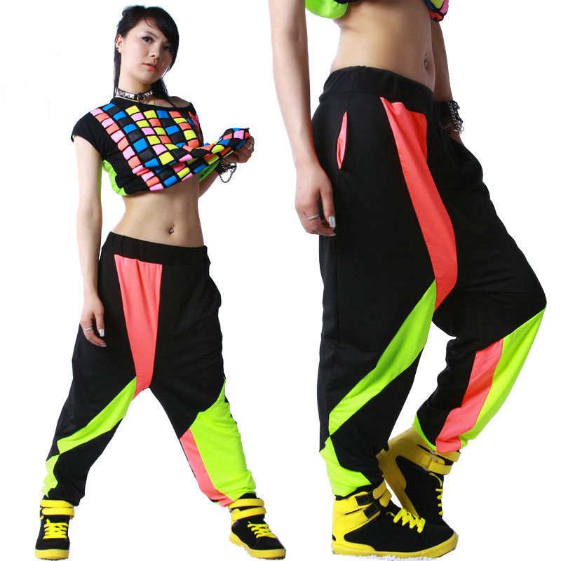 Kids Adult Brand Spring Summer Sweatpants Costumes wear thin Colorful patchwork Panelled jazz trousers harem Hip Hop Dance Pants