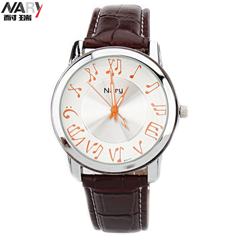 NARY Musical Notation Retro Casual Quartz Wristwatch Couple PU Leather Men Watch Women Dress Watches Romantic Lovers Gift Clocks xiniu retro wood grain leather quartz watch women men dress wristwatches unisex clock retro relogios femininos chriamas gift 01