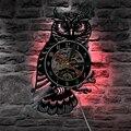 1 шт. Ночная Сова ретро виниловая запись настенные часы животные светодиодный светильник изменение цвета настенный светильник пульт дистан...