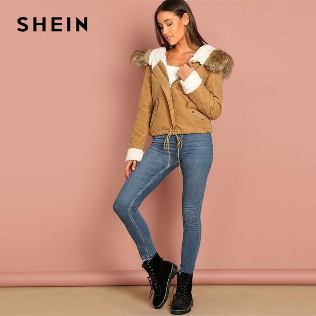 SHEIN Khaki Casual Drawstring Hem Pocket Faux Fur Zipper Up Hooded Jacket Autumn Thermal Leisure Women Coat And Outerwear 6