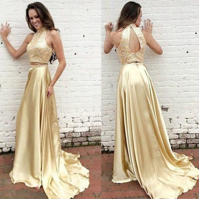 Gold Two Pieces Prom Dresses 2019 Sequins Satin Vestidos De Fiesta Largos Elegant De Gala Party Dress Evening Gown High Neck in Evening Dresses from Weddings Events