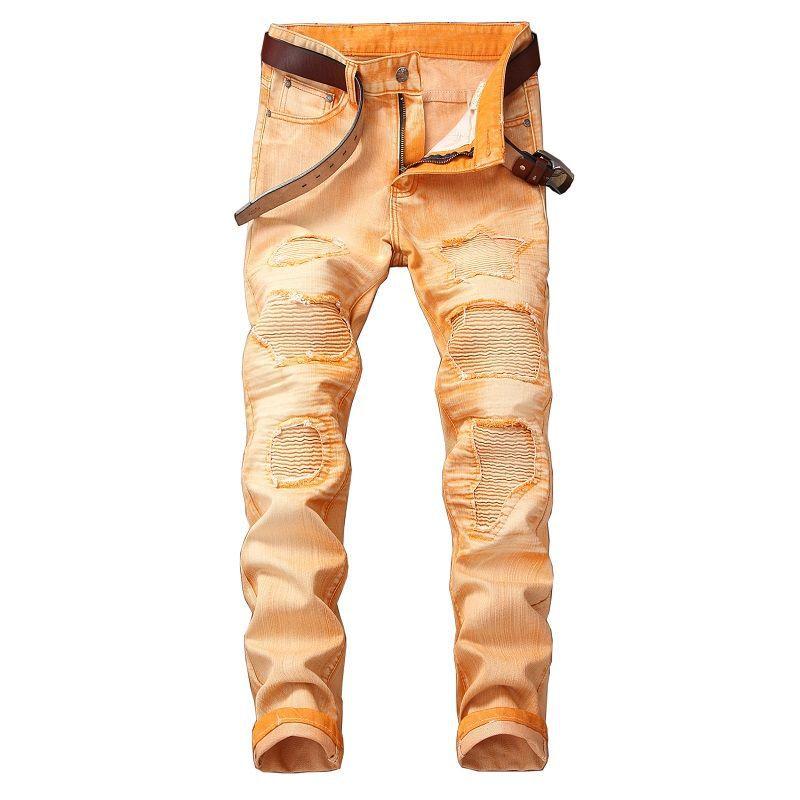 2018 Neue Hip Hop Männer Jeans Beiläufige Distressed Männer Slim Jeans Denim Motorrad Hosen Marke Biker Jeans Rock Zerrissene Jeans Homme Neueste Technik