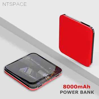 8000mAh Mirror Power Bank Dual-USB 2.0A Quick Charge Powerbank Portable Aluminium frame Fast Charging Backup Power Battery Pack