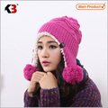 Winter Warm Thick Crochet Knit Pom Pom Beanie Winter Ski Hat with Fleece Lining Windproof