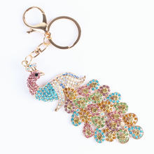 YXT Multi-Color Colorful Peacock Bird Pendant Charm Rhinestone Crystal Keyring Key Chain for Handbag Purse Wedding Party Gift(China)
