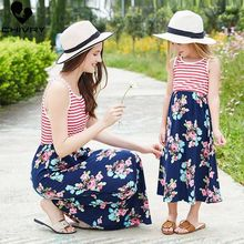Chivry Mother Daughter Dresses Sleeveless Stripe Floral Patchwork Long Dress Mommy and Sundress Family Matching Clothes