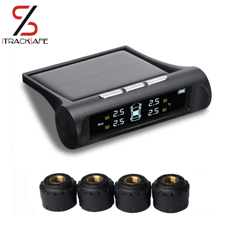 Smart Wireless Car font b TPMS b font Tyre Pressure Monitoring System Solar Power charging Digital