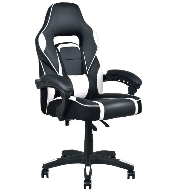 Giantex Modern Executive Racing Style Gaming Chair High Back Recliner Pu Leather Swivel Office Chairs Hw56246wh