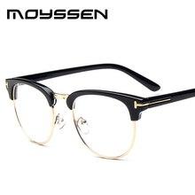 6b37bd600 Moyssen أزياء الرجال العلامة التجارية تصميم نصف حافة خمر النظارات البصرية  إطار شفاف قصر النظر وصفة طبية إطارات النظارات