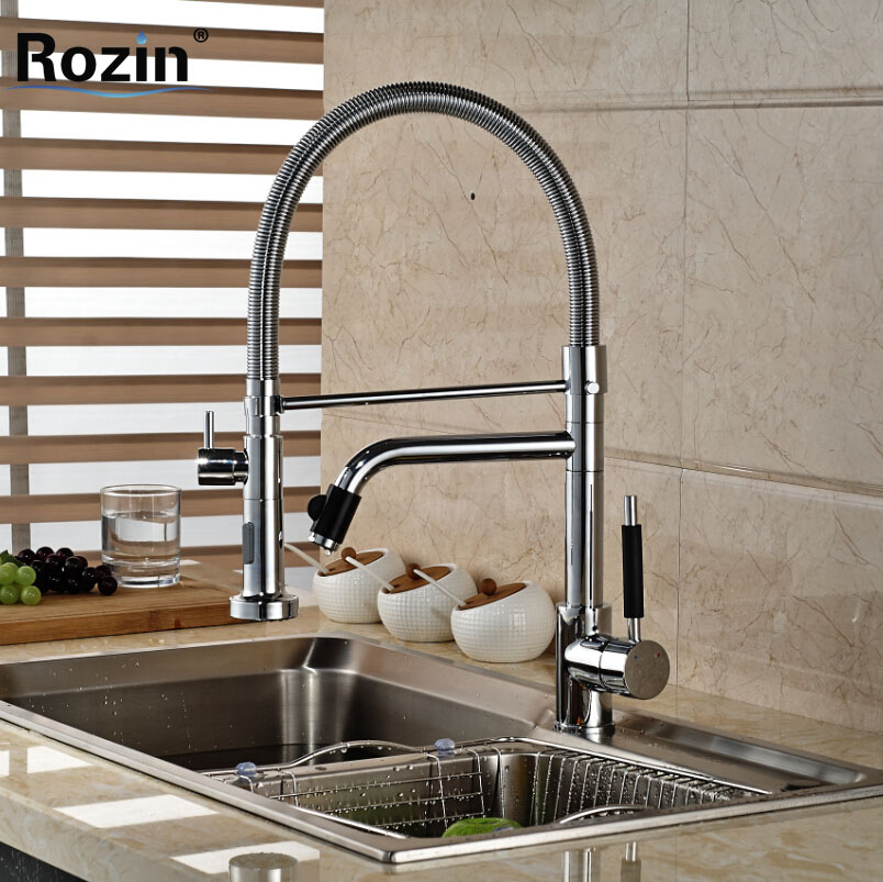 Deck Mount Dual Spout Rotation Kitchen Sink Faucet Chrome Finished with Hot and Cold Water Pull Down Mixer Taps free shipping 2m tpuinflatable water walking ball water ball water balloon zorb ball inflatable human hamster plastic ball