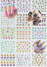 30Sheets/Lot Self Adhesive Gold Nail Stickers,3D Mix Design Stamping brozing Nail Sticker,Nail Art Decal DIY Manicure Decoration 3d nail art fimo soft polymer clay fruit slices cartoon for nail manicure sticker cell phones diy designs wheel decoration czp35