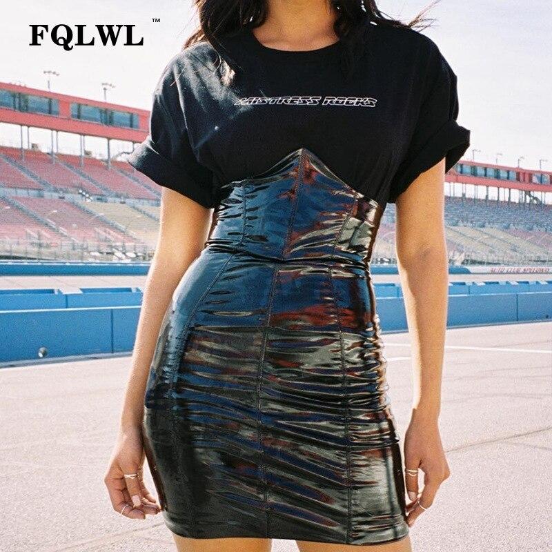 FQLWL Sexy High Waist PU Leather Skirt Women Pvc Black Bodycon Latex Mini Skirt Autumn Casual Streetwear Short Pencil Skirts