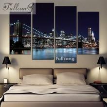 FULLCANG 5d diamond mosaic diy painting 4 pcs night bridge full square embroidery city landscape pattern F117