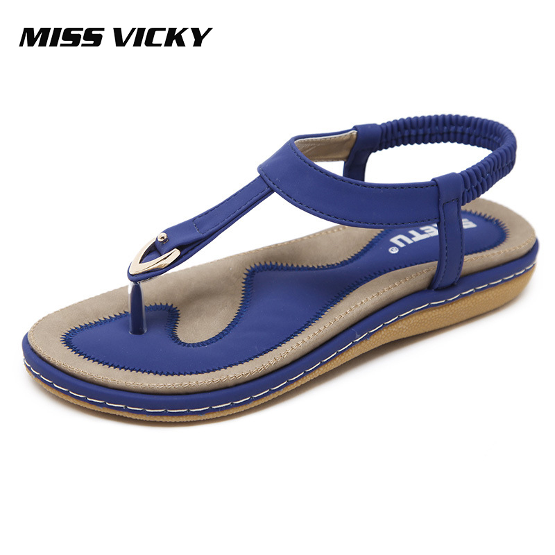 MISS VICKY 2019 New Summer Womens Sandals Flat Bottom Bohemian Soft Beach