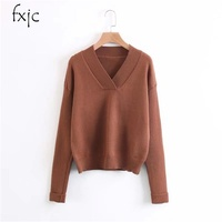 Autumn And Winter New Female Jacket V Neck Pure Color Fashion Backing Long Sleeves Sweater Free