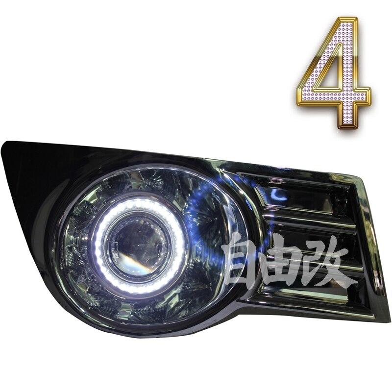 eOsuns COB angel eye led daytime running light DRL + halogen Fog Light + Projector Lens for suzuki sx4