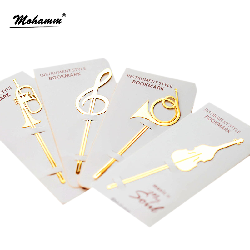 New Kawaii Cute Gold Musical Instruments Metal Book Markers Bookmark For Books Paper Clips Office School Supplies Stationery стоимость